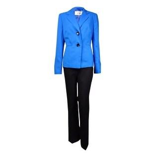 Le Suit Women's Monte Carlo 2-Button Pant Suit (6, Ocean/Black) - ocean/black - 6