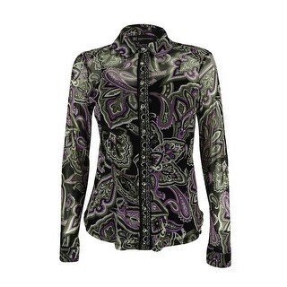 INC International Concepts Women's Mesh Button Top - korean border paisley