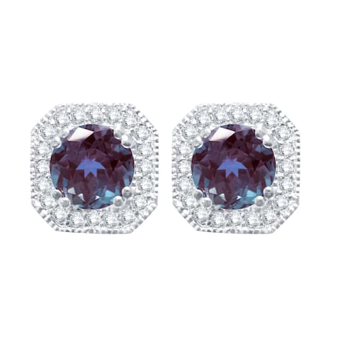 Sterling Silver Color Changing Alexandrite and White Topaz HaloStud Earring
