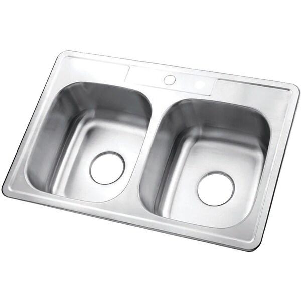 """Kingston Brass GKTD332281 Studio 33"""" Drop In Double Basin Stainless Steel Kitchen Sink - Brushed Nickel"""