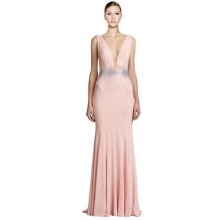 Jovani Crystal Embellished Jersey Sleeveless Long Evening Gown Dress