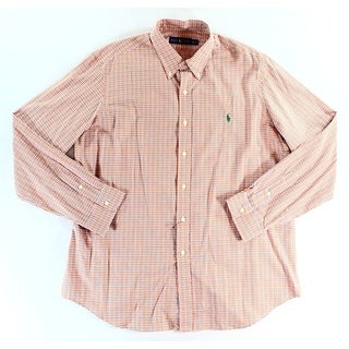 Ralph Lauren NEW Orange Mens Size XL Button Down Plaid Print Shirt