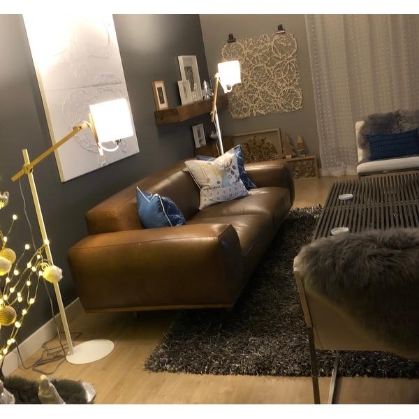 Shop Strick & Bolton Dante Italian Oxford Tan Leather Sofa - On Sale on