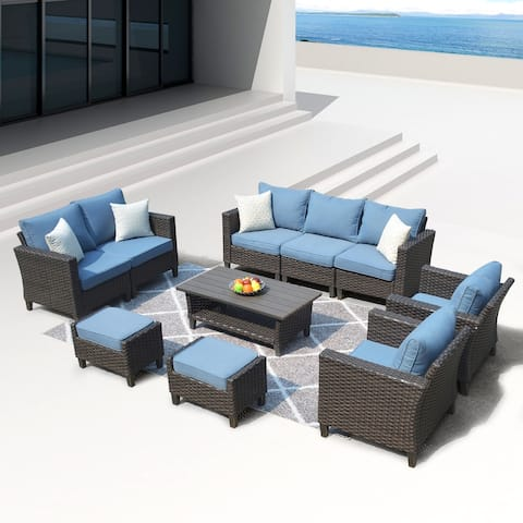 Ovios Patio Furniture Outdoor High Back Wicker Patio Furniture Set