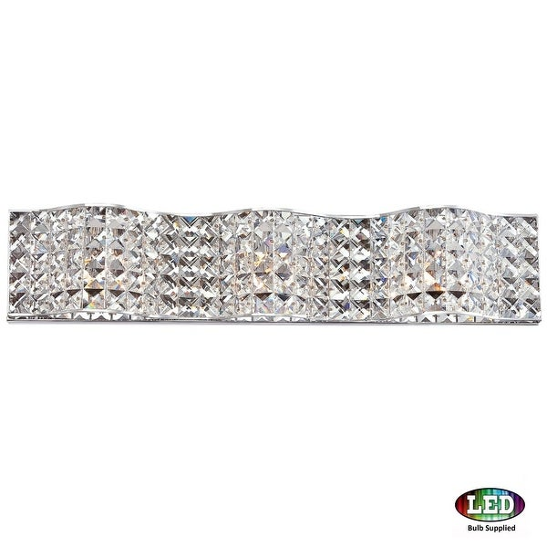 "Platinum PCAX8603LED Alexa 3-Light 25"" Wide Bathroom Vanity Light with Crystal Specialty Shades - Polished chrome"