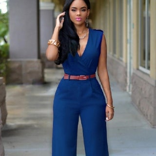 Link to Women's Fashion Jumpsuit Rompers V-Neck Sleeveless Slim Fit Similar Items in Outfits