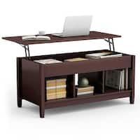 Costway Lift Top Coffee Table w/ Hidden Compartment and Storage Shelves Modern Furniture - as pic
