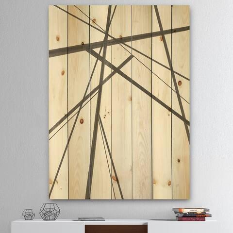 Designart 'minimalist black and white III' Transitional Print on Natural Pine Wood