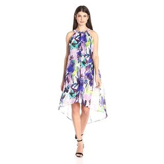 Vince Camuto Printed High-Low Trapeze Cocktail Day Dress