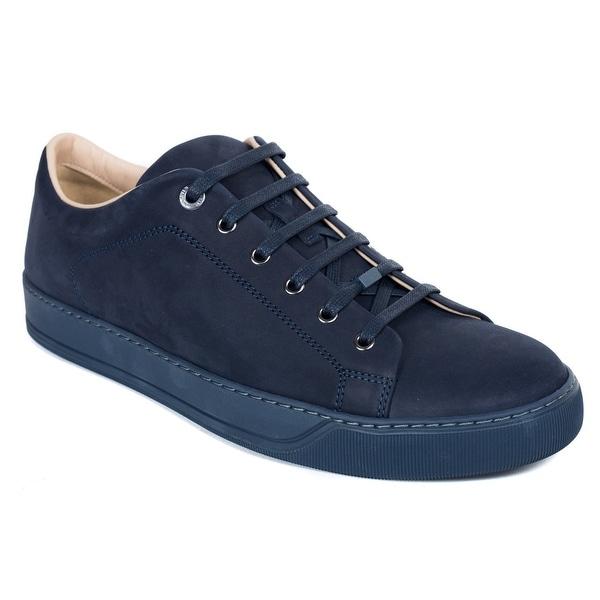 Lanvin Blue Suede Nubuck Calfskin Lace Up Low Top Sneakers