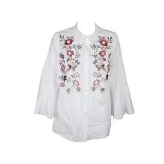 Charter Club Plus Size Cotton White Embroidered Bell-Sleeve Top 18W