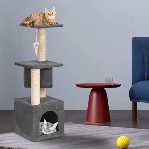 "36"" Stable Cute Sisal Cat Climb Holder Cat Tower Gray"