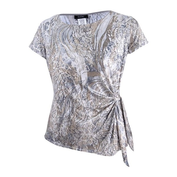 9cec68add992a Shop MSK Women s Limited Embellished-Print Side-Tie Top - grey cream silver  - On Sale - Free Shipping On Orders Over  45 - Overstock - 25410761