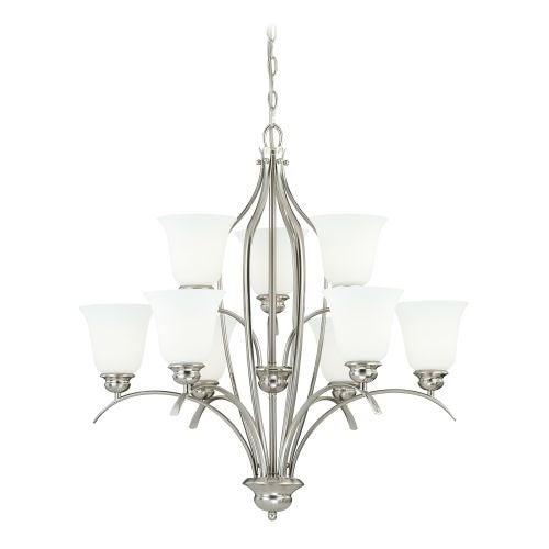 Vaxcel Lighting H0092 Darby 9 Light Two Tier Chandelier with Etched Glass Shades - 29.25 Inches Wide