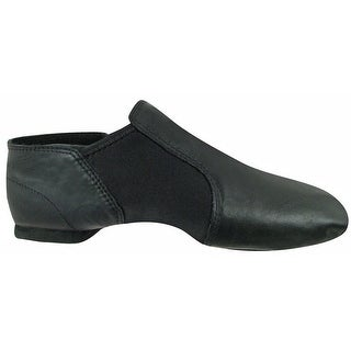 Black Leather Split-Sole Design Neoprene Wrap Wide Jazz Shoes 5-12 Womens