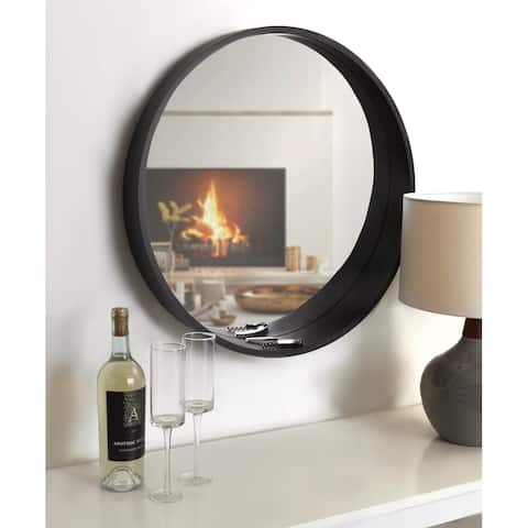 "Kate and Laurel Wheeler Round Framed Wall Mirror - 24"" Diameter"