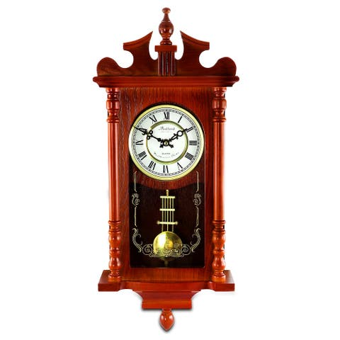 Bedford Clock Collection Decorative Wall Clock with Pendulum and Chime