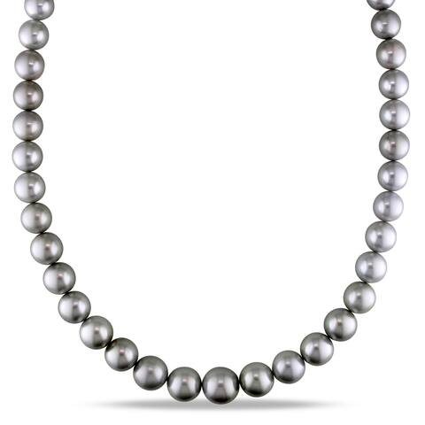 Miadora 14k White Gold Platinum Tahitian Pearl Strand Necklace 10-12mm
