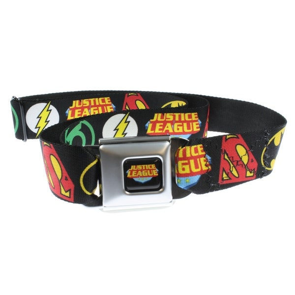 Justice League Symbols Black Seatbelt Belt-Holds Pants Up