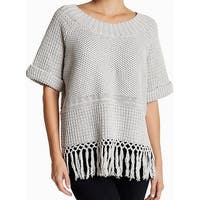 Current/Elliott NEW Gray Women's Size XS Boat Neck Fringe-Hem Sweater