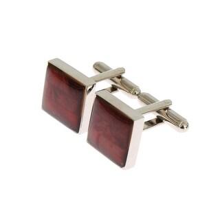 Dolce & Gabbana Silver Brass Square Red Stone Cufflinks