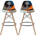2xhome - 28-inch Plastic Chair DSW Patchwork Fabric Counter Stool Bar Stool (Set of 2) - Thumbnail 0