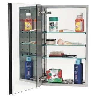 """Alno MC21244 2000 Series 15"""" x 25"""" Single Door Recessed Medicine Cabinet with Stainless Steel Interior, 3 Glass Shelves and"""