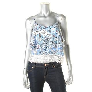 Aqua Womens Rayon Lace-Trim Crop Top - L