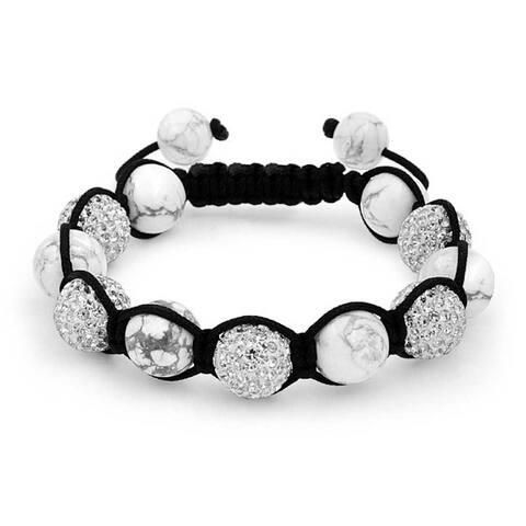 White Grey Howlite Stone Pave Crystal Ball Shamballa Inspired Bracelet For Women For Men Black Cord String Adjustable
