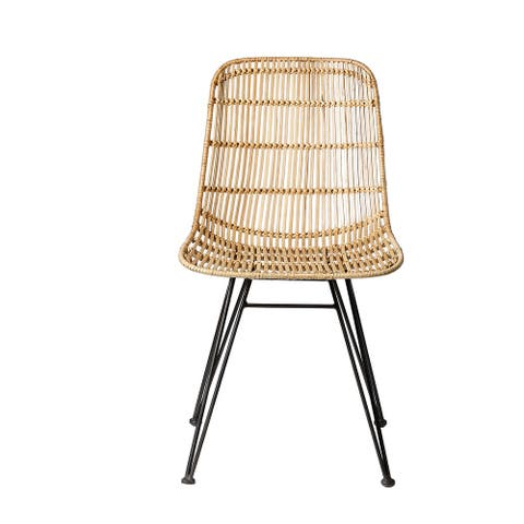 Braided Beige Rattan Chair with Black Metal Frame