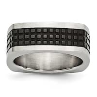 Stainless Steel Brushed/Polished & Textured Black IP-plated Square Band Ring - Sizes 8 - 12