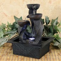 Sunnydaze Spiral Column Cascading Tiered Bowl Tabletop Water Fountain w/ Light