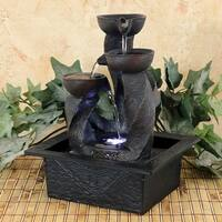 Sunnydaze Spiral Column Cascading Tiered Bowl Tabletop Water Fountain w/ Light