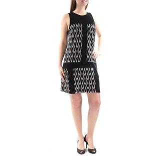 KAREN KANE $118 Womens New 1227 Black Ivory Sleeveless Sheath Dress M B+B