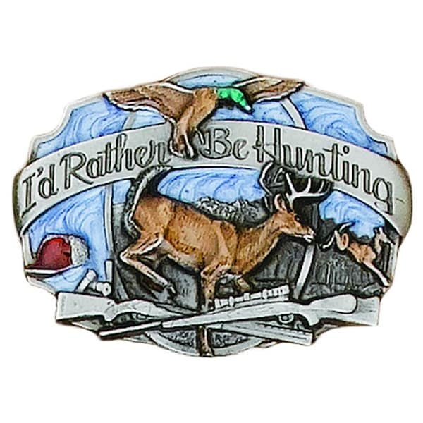 I'd Rather Be Hunting Belt Buckle with Wildlife Detail - One size