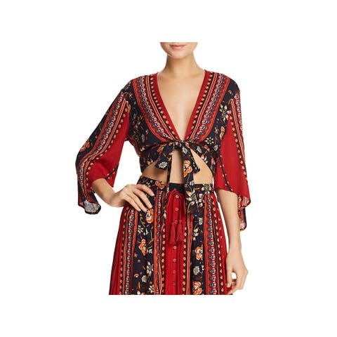 Band of Gypsies Womens Crop Top Tie-Front Wrap
