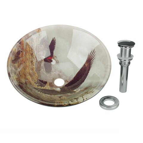 Renovator's Supply Eagle Tempered Glass Vessel Sink with Drain, Patriotic Double Layer Bowl Sink