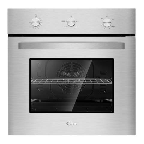 24 in. 2.3 cu. Ft. Single Gas Wall Oven - Bake Broil Rotisserie Functions - Built-in Timer - Convection Fan in Stainless Steel