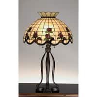 Meyda Tiffany 19138 Stained Glass / Tiffany Table Lamp from the Roseborders Collection - Mahogany Bronze