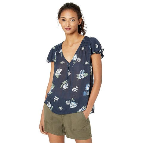 Lucky Brand Womens Smocked Pullover Blouse, blue, Large