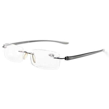 Eyekepper Readers Small Lenes Rimless Reading Glasses Grey Arm +0.75
