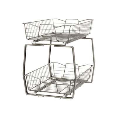 ClosetMaid Two Tier Nickel Pull Out Cabinet Organizer