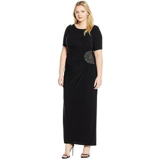 Xscape Plus Size Short Sleeve Embellished Jersey Evening Gown Dress - 18W