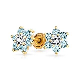 Bling Jewelry 14k Gold Blue CZ Flower Baby Safety Earrings