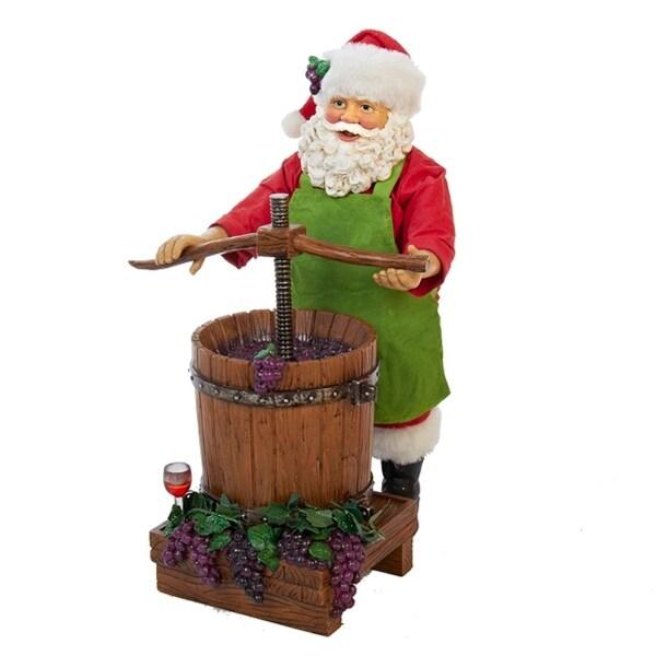 "10"" Fabriche Wine Santa Claus Decorative Christmas Table Top Decoration - multi"