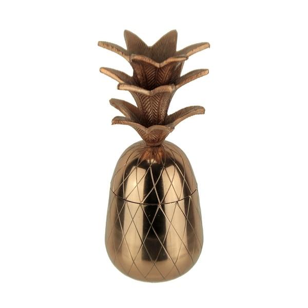 Metallic Copper Finish Metal Tropical Pineapple Box - 10.5 X 3.75 X 3.75 inches