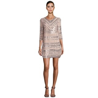 Parker Black Petra Sequin Embellished 3/4 Sleeve Cocktail Dress Blush