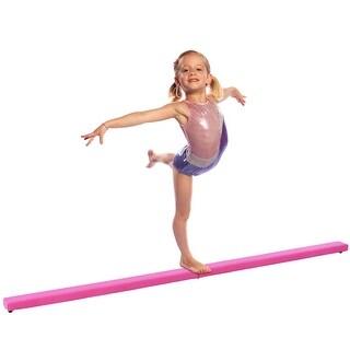 Costway 8FT Pink Folding Floor Balance Beam Sports Gymnastics Skill Performance Training