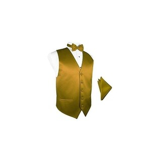New Gold Satin Tuxedo Vest with Bowtie & Pocket Square Set