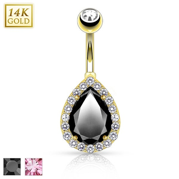 Large Pear CZ Center with Clear CZ Frame Solid 14KT Gold Non Dangle Navel Ring